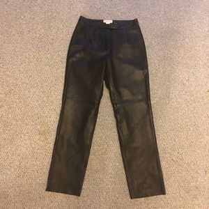 Black real leather pants EUC size 8 Merona